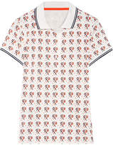 Tory Sport Printed Flocked Stretch-coolmax Piqué Polo Shirt - White