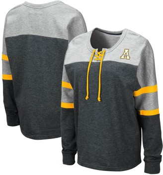 Colosseum Women's Black Appalachian State Mountaineers Manolo Lace-Up French Terry Pullover Sweatshirt