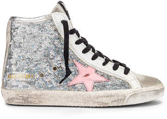 Golden Goose Francy Sneaker in Silver Paillettes & Pink | FWRD