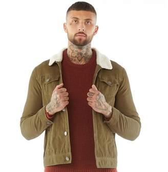 Brave Soul Mens Prestwich Borg Collar Cord Jacket Tan