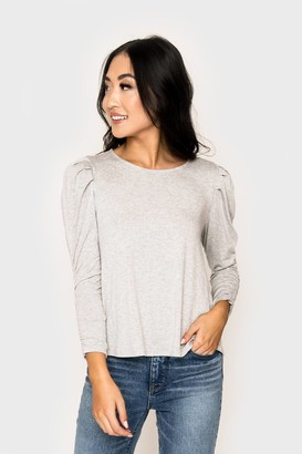 Gibson Cinched Sleeve Puff Shoulder Top
