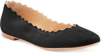 Chloé Scalloped Suede Ballet Flats