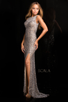 Scala 48694 High Neck Sequins Prom Dress with Long Train