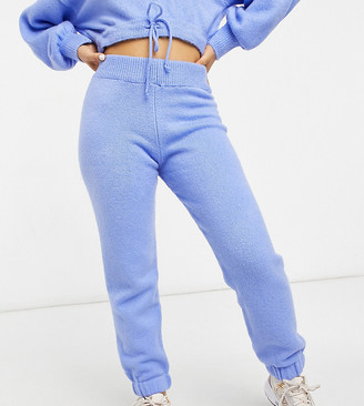 ASOS DESIGN Petite co-ord knitted jogger in fluffy yarn in light blue