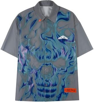 Heron Preston Grey printed reflective shell shirt