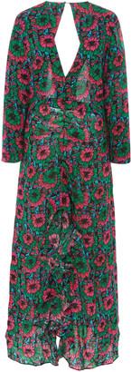 Rixo Rose Printed Crepe De Chine Maxi Dress