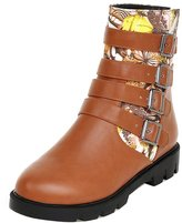 ENMAYER Womens Fashion Buckle Zipper Mid Heeled Ankle Boots 8.5 B(M) US