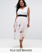 Elvi Plus Pleated Skirt In Floral Print