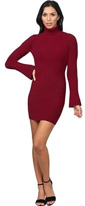 Bebe Mock Neck Sweaterdress (Red) Women's Dress