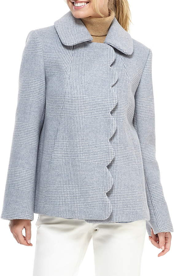Gal Meets Glam Aubrey Scalloped Houndstooth Check Coat