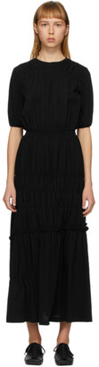 Enfold Black Shirring Tiered Dress