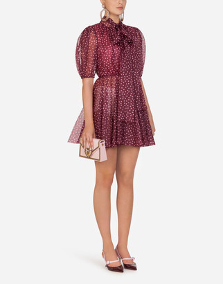 Dolce & Gabbana Short Mini Polka-Dot Print Organza Dress