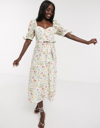 ASOS DESIGN cotton poplin puff sleeve midi skater dress in ditsy floral with diamante buttons
