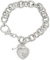 "Judith Ripka Verona 6 3/4"" Heart & Key Charm Bracelet 32.8g Sterling"
