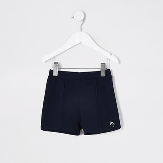 River Island Mini Boys navy jersey twill short