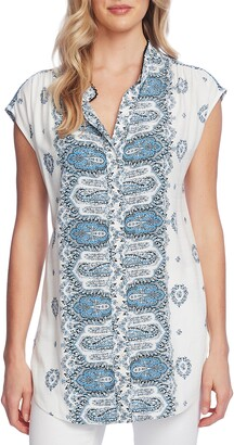 Vince Camuto Border Print Sleeveless Button Up Blouse