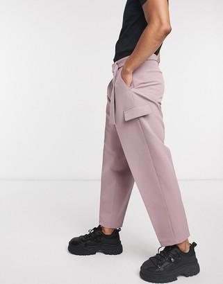 ASOS DESIGN wide leg smart trouser in purple with metal buckle belt