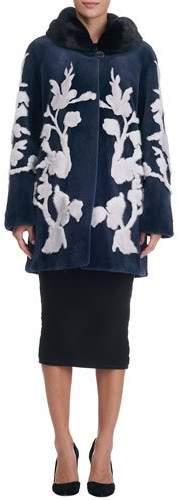 Gorski Floral-Intarsia Sheared Mink Stroller Coat