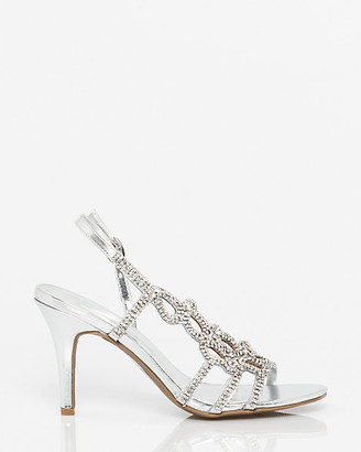 Le Château Embellished Metallic Faux Leather Slingback
