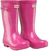 Hunter Girls Glitter Finish Wellington Boots Fuchsia