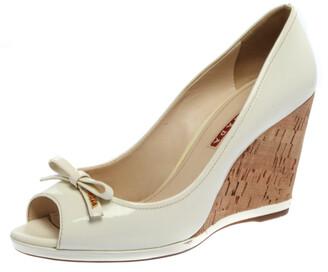 Prada Sports White Patent Leather Bow Peep Toe Cork Wedge Pumps Size 38