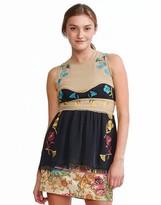 Cynthia Rowley Silk Georgette Raw Edge Sleeveless Colorblock Top