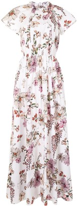 Adam Lippes Floral Shirred Dress