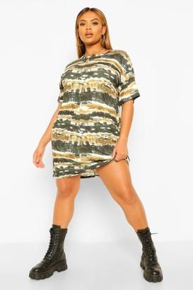 boohoo Plus Tie Dye Soft Rib T-Shirt Dress