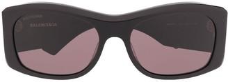 Balenciaga Eyewear Thick Logo Print Sunglasses