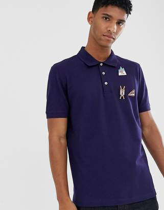Love Moschino regular fit polo shirt with pins-Blue