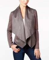 KUT from the Kloth Faux-Leather-Trim Draped Jacket