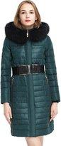 Basic Editions Women Winter Fur Hood Long Down Jacket Coat