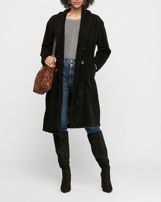 Express Long Double-Breasted Faux Fur Coat