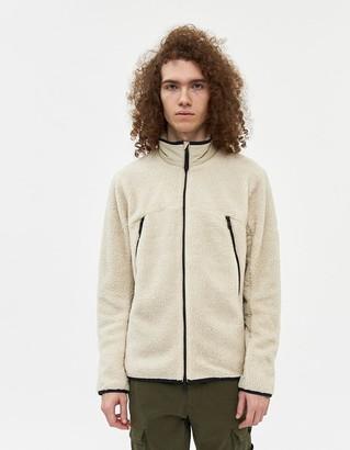 BEIGE Hill City Men's High Pile Full Zip Jacket in Beige, Size Medium | Fleece