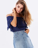 MinkPink Star Gazer Tie Off-the-Shoulder Top