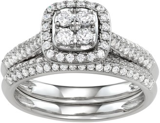 Vera Wang Simply Vera 14k White Gold 3/4 Carat T.W. Diamond Cushion Halo Engagement Ring Set