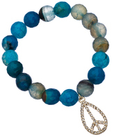 Blu Bijoux Gold and Crystal Peace Sign Blue and Green Beaded Stretch Bracelet