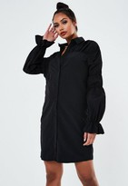 Missguided Tall Black Ruched Sleeve Shirt Dress