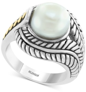 Effy Cultured Freshwater Pearl (10mm) Statement Ring in Sterling Silver & 18k Gold Over Silver