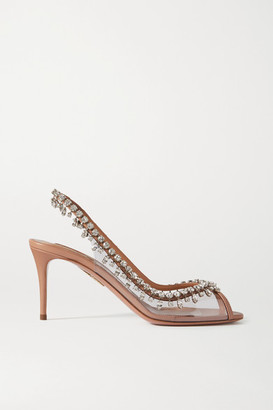 Aquazzura Temptation 75 Crystal-embellished Pvc And Leather Slingback Sandals - Neutral