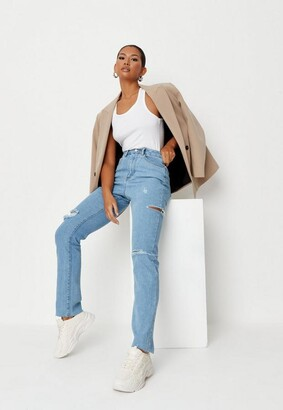 Missguided Blue Comfort Stretch Thigh Rip Straight Jeans