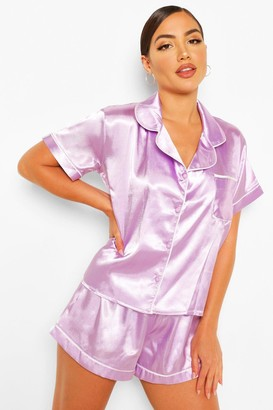 boohoo Satin Button Through PJ Shorts Set