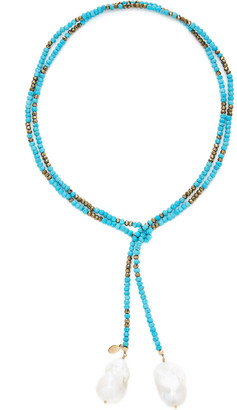 Joie DiGiovanni Gold-Filled Turquoise Pyrite and Pearl Necklace