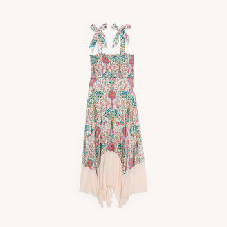 Sandro Long pleated print dress