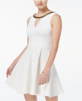 XOXO Juniors' Beaded Fit & Flare Dress