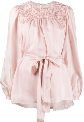 Tory Burch Belted Silk Blouse