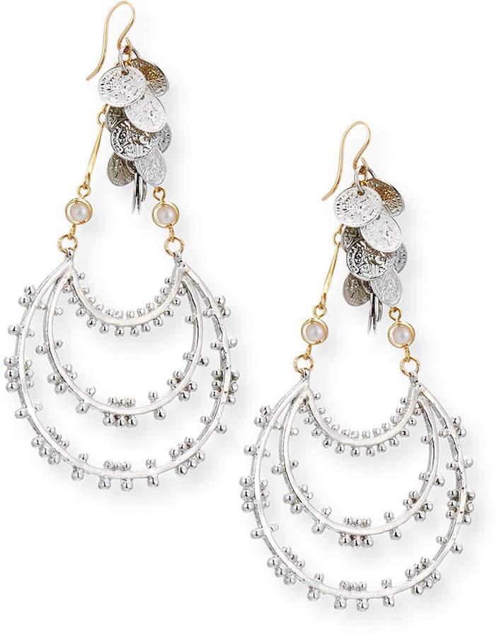 Devon Leigh Dangling Beaded Hoop Drop Earrings