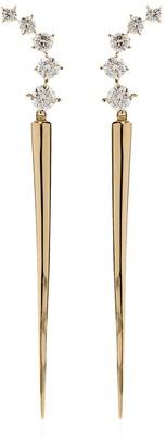 Melissa Kaye 18kt yellow gold Aria diamond dagger earrings