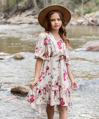 Joyfolie Girls' Casual Dresses Floral - Cream & Red Floral Felicity Hi-Low Dress - Toddler & Girls