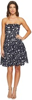 Maggy London Bonded Mesh Flower Fit and Flare Dress